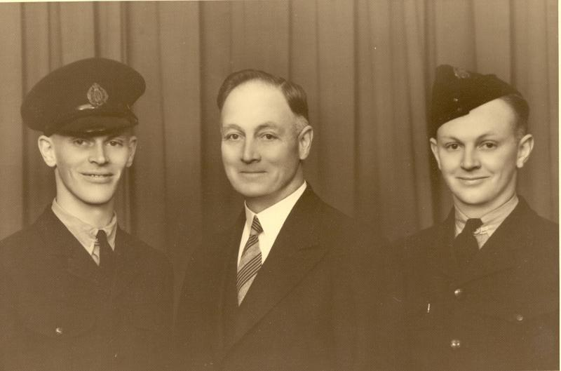 Father & two sons L to R Frank L, James F, James E Parton abt April 1943