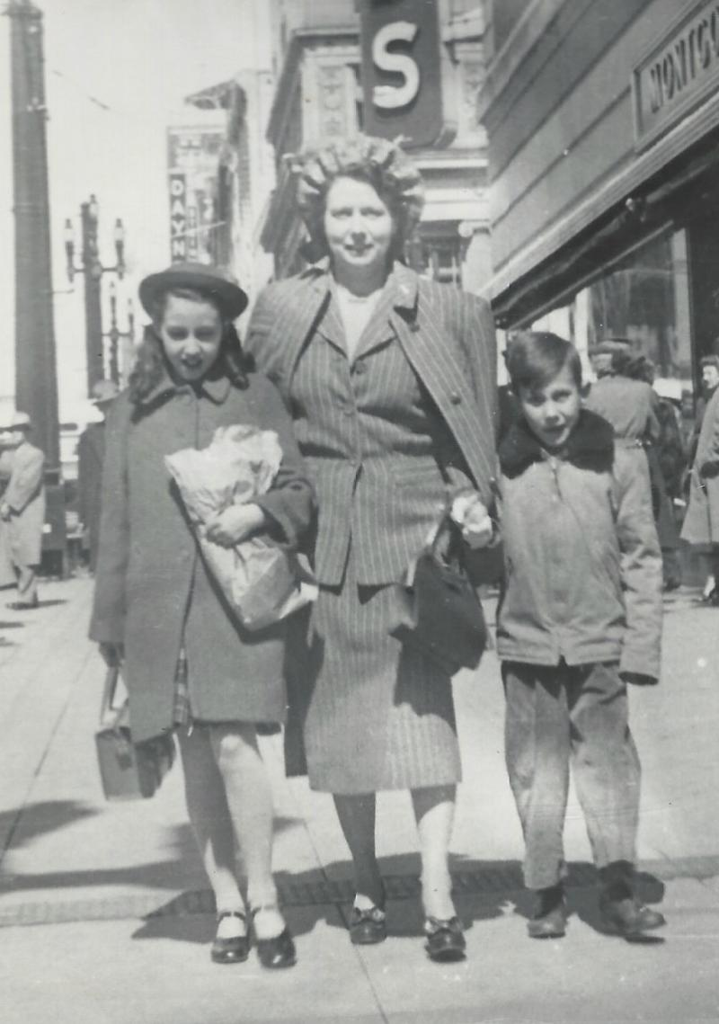 Pearce, Mary Isbella McGhie shopping with son James and daughter Mary Lynn in 1946