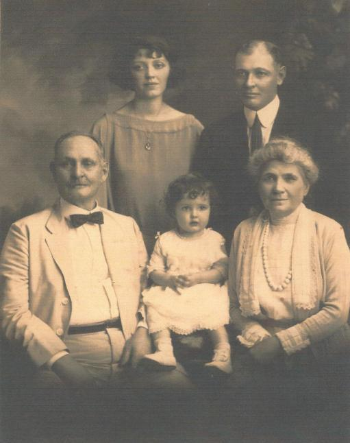Four Generations (L-R Top) Elizabeth Francesca (McCune) Lynch, Alfred William McCune Jr (seated) Alfred William McCune Sr, Pauline Jane Lynch and Elizabeth Ann (Claridge) McCune abt 1922.