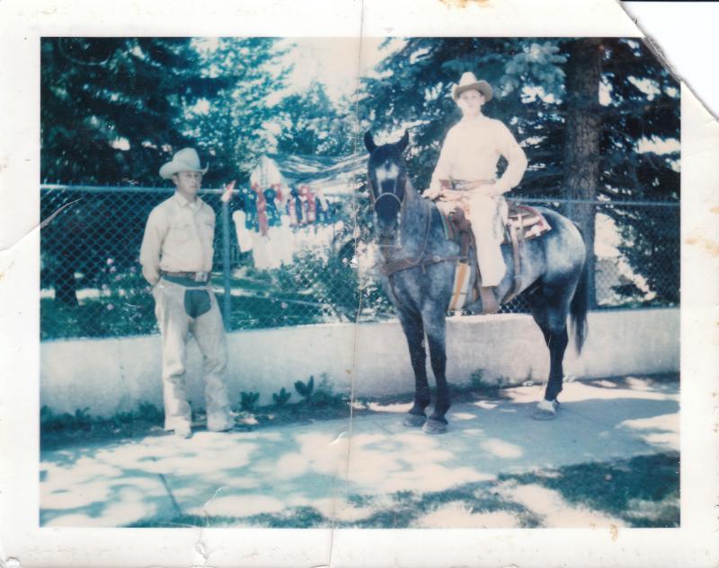 "Jerry Wheeler Chadwick and Jerry Wheeler Chadwick, Jr. and ""Dandy Warrior"" circa 1971"