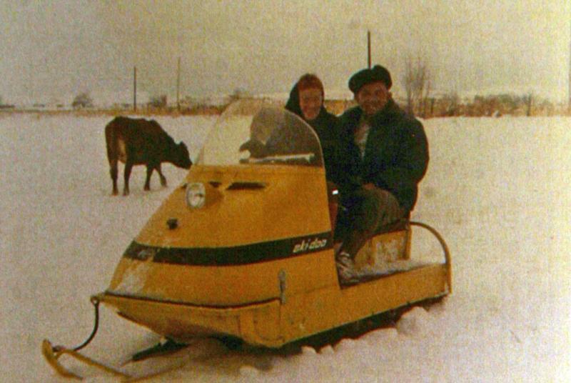 Edith and Claud on Ski doo