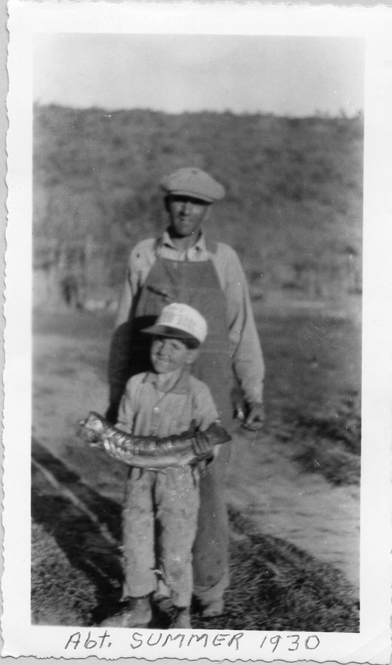 Joe Wielang after fishing with son Joe abt 1930