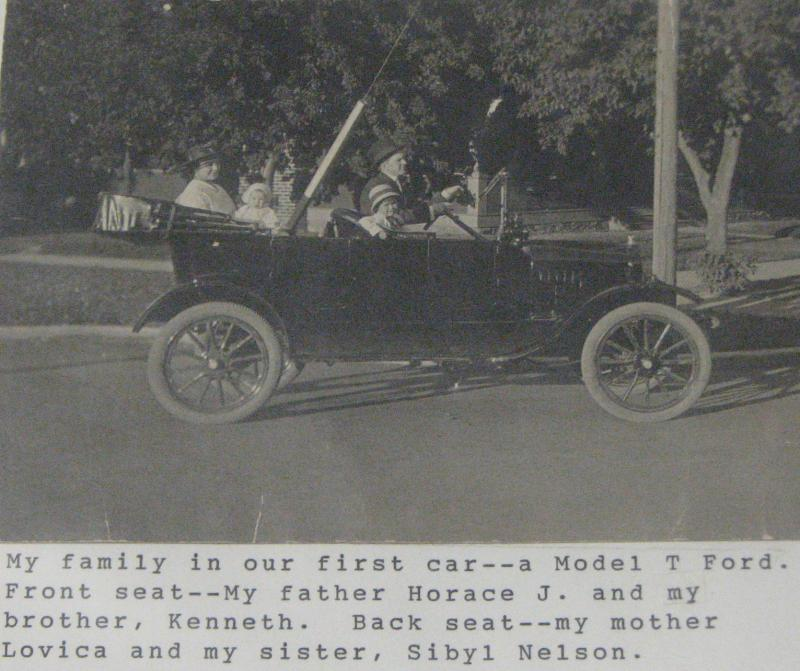 Nelson Family in the Model T. Ford.