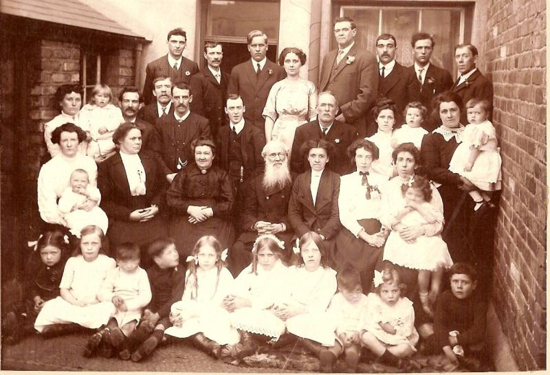 Thomas Albert Baylis with member and missionaries in Merthyr, Wales. 22 Jun 1913.