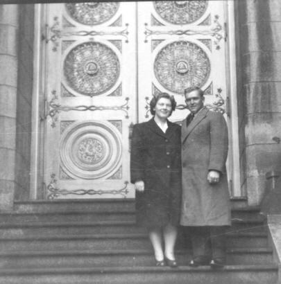 Alta & Lloyd on SLC Temple steps wedding 1945