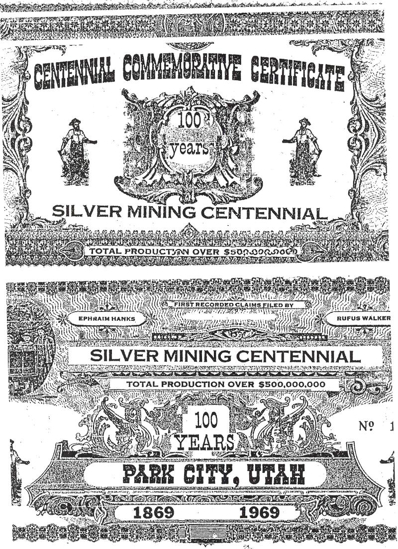 Silver Mining Centennial honoring Rufus Walker and Ehpraim Hanks for their silver discoveries in Park City, Utah