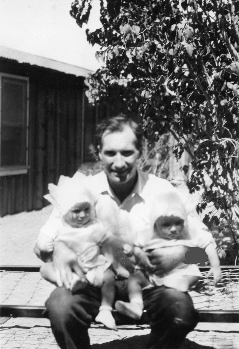 Ralph Whitney and his Twin Girls - 1928 Goodsprings, Nevada