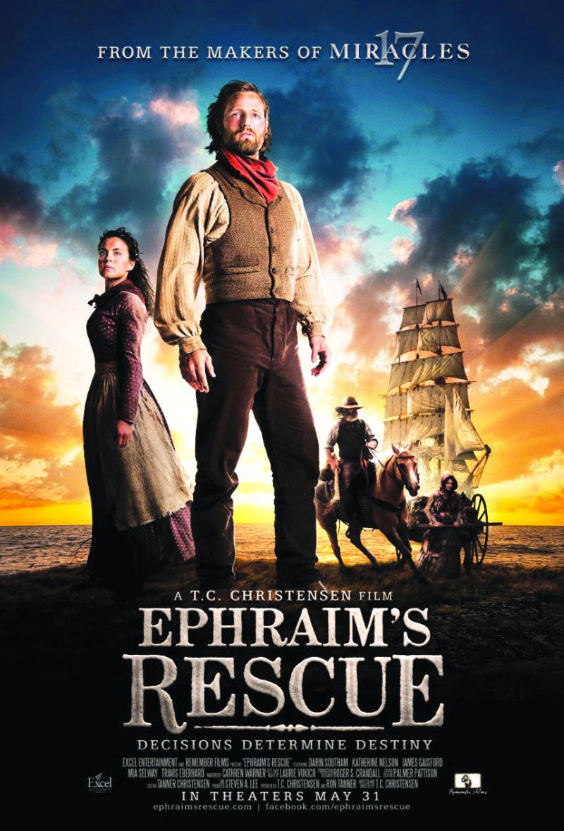 """Movie poster for T.C. Christensen's film, """"Ephraim's Rescue,"""" released in movie theaters on May 31, 2012.  The film is available for purchase in the DVD format."""