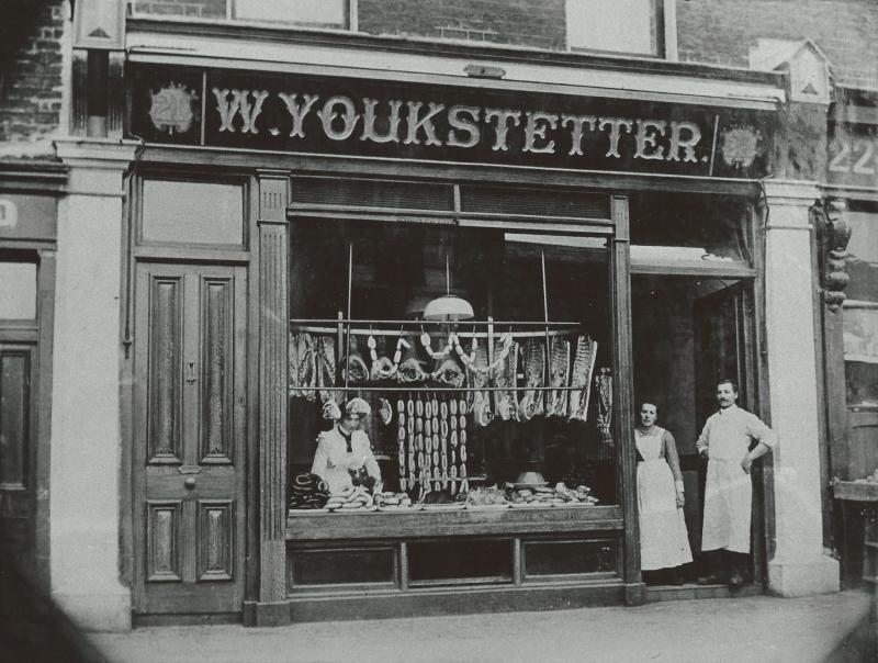 W. Youkstetter Pork Butcher Shop, 21 North Strand, Dublin, Ireland around 1910