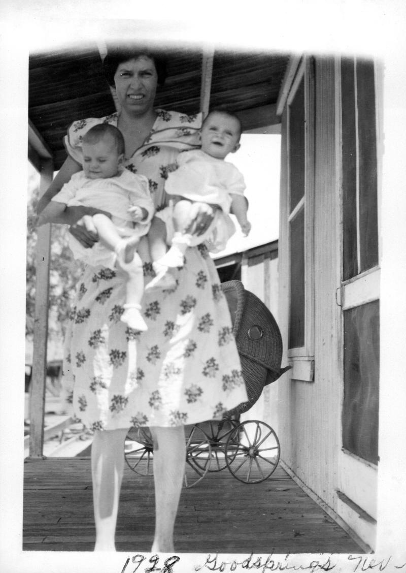 Doris Nay Whitney and her Twin Girls - 1928 Goodsprings, Nevada