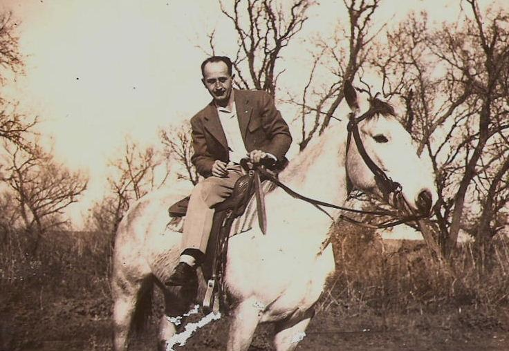 "Charles R Seymour, at Escalon, CA, about 1950-55. He was a real horseman, and as a young man was in demand all over the Kamas Valley to break horses. He was a very modest man, but once confided to his daughter that he ""could get a horse to do anything."""