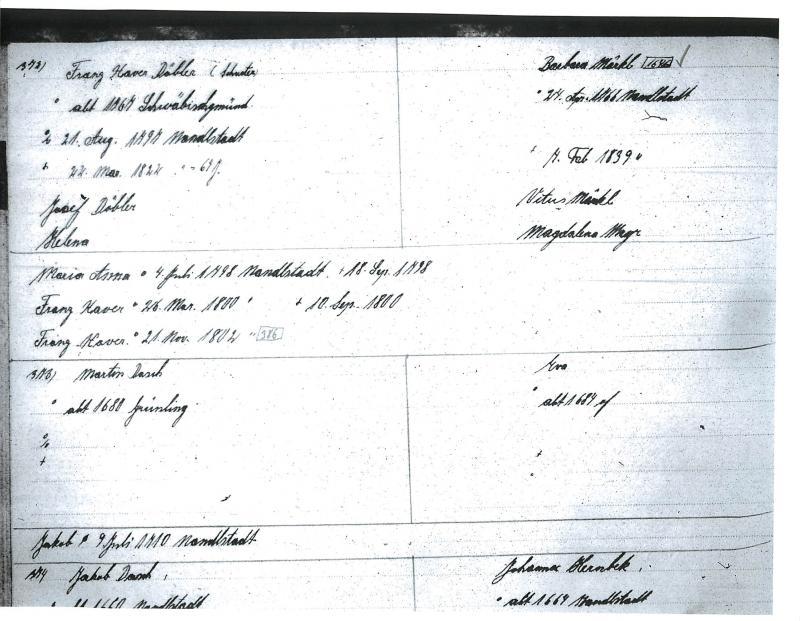 Nandlstadt Familienbuch, FHL 0492869. Family Group: Franz Xaver Doebler and Barbara Merkl.