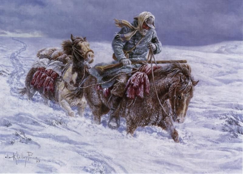 """Clark Kelly Price's painting, """"Obeying the Spirit."""" The painting is now owned by Ephraim K. Hanks' 4th great grandson, Gregory Knowlton Larsen of Salt Lake City. Mr. Price retains the copyright to this image."""