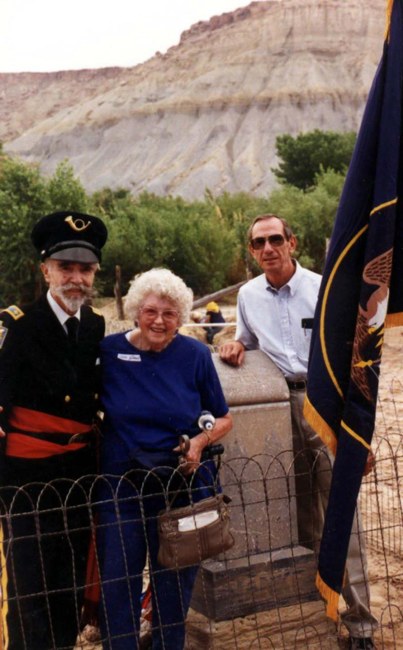 Mormon Battalion Marker Ceremony on the 100th anniversary of Ephraim Knowlton Hanks death in Caineville, Utah,  Retta and Phillip being  grandchildren of Ephraim Hanks. Garn Hatch is the Battalion representative.