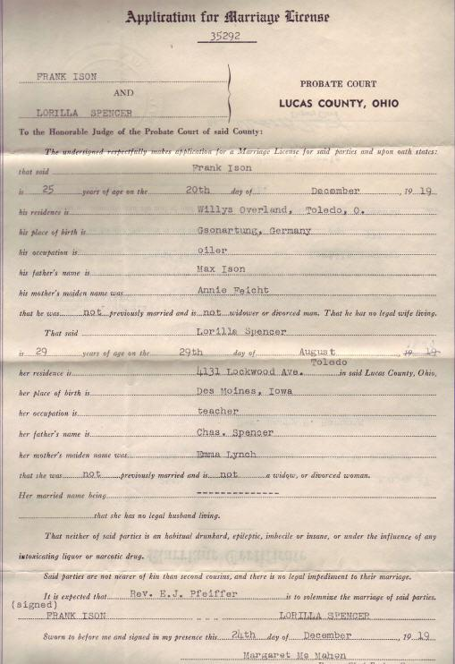 Lorilla Spencer and Frank Ison's Marriage Application 1919