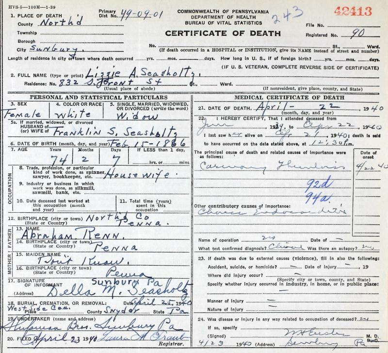 Elizabeth A Renn-Seasholtz - Pennsylvania Death Certificate# 42413