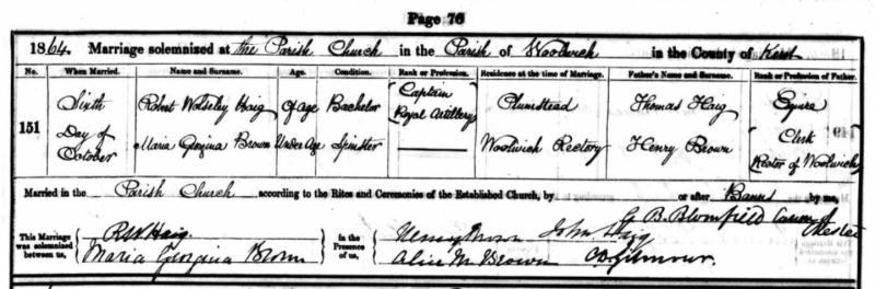 Parish Record of Marriage for Robert Wolseley Haig and Maria Georgina Brown on October 6, 1864.